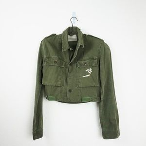 Vintage Cropped embroidered military jacket